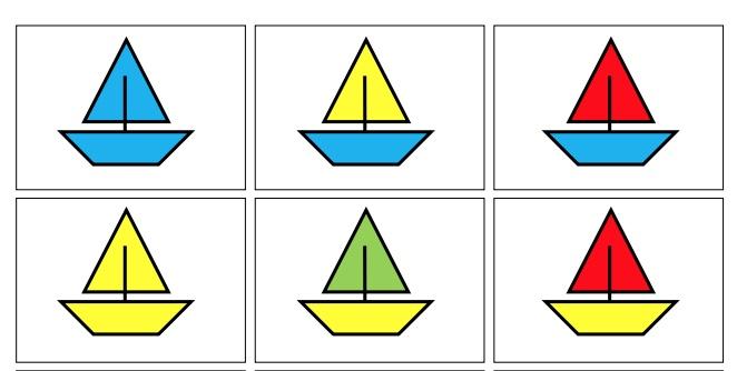 Học liệu xếp hình nhận biết phân biệt màu sắc chủ đề con thuyền