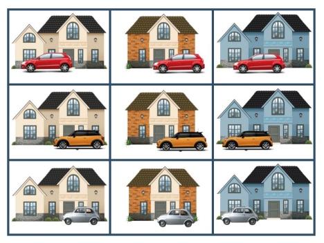 Học liệu xếp hình chủ đề ngôi nhà và xe hơi